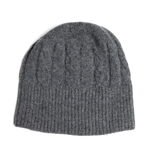 SHEARWATER Unisex Lambswool Cable Knit Beanie Hat - Mid Grey