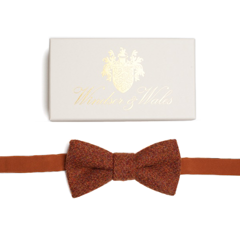DUNLIN Orange Tweed Bow Tie
