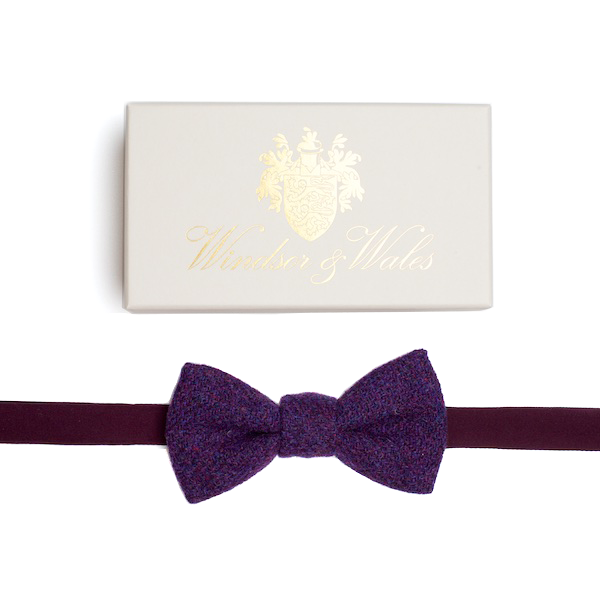 DUNLIN Purple Tweed Bow Tie