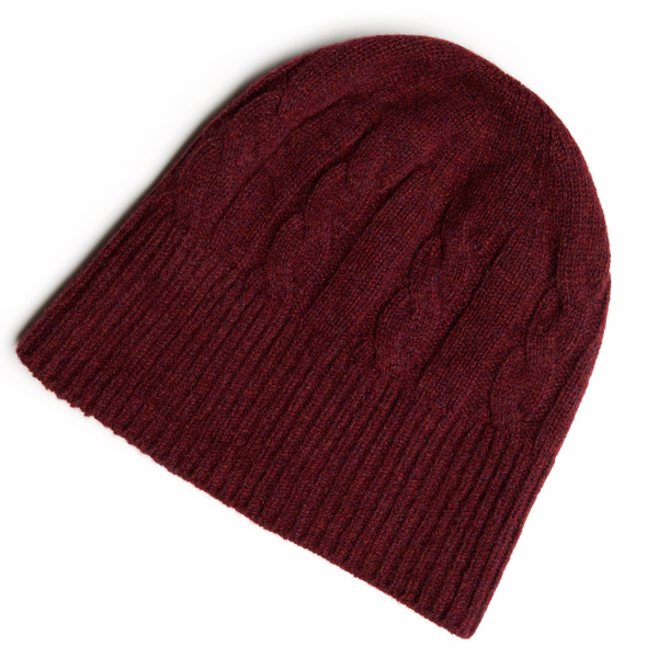 SHEARWATER Lambswool Beanie Hat - Berry Red