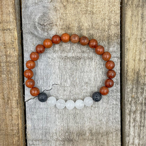 Kingston | Moonstone, Red Rosewood, & Lava Rock