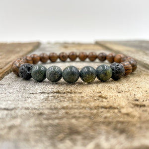 Kingston | Green Serpentine - Dark Sandalwood
