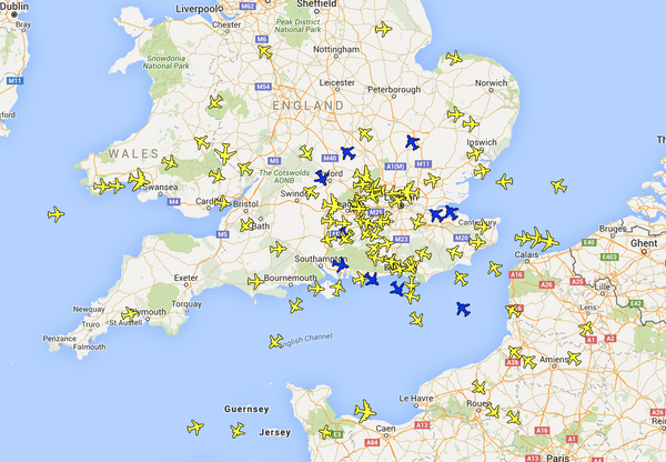 Plane Finder Radar Client Map Page