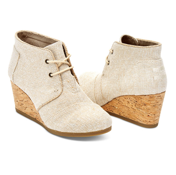 TOMS Women's Desert Wedge Metallic Linen