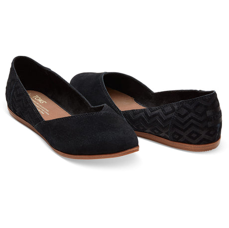 TOMS Women's Jutti Flat Suede Diamond Embossed