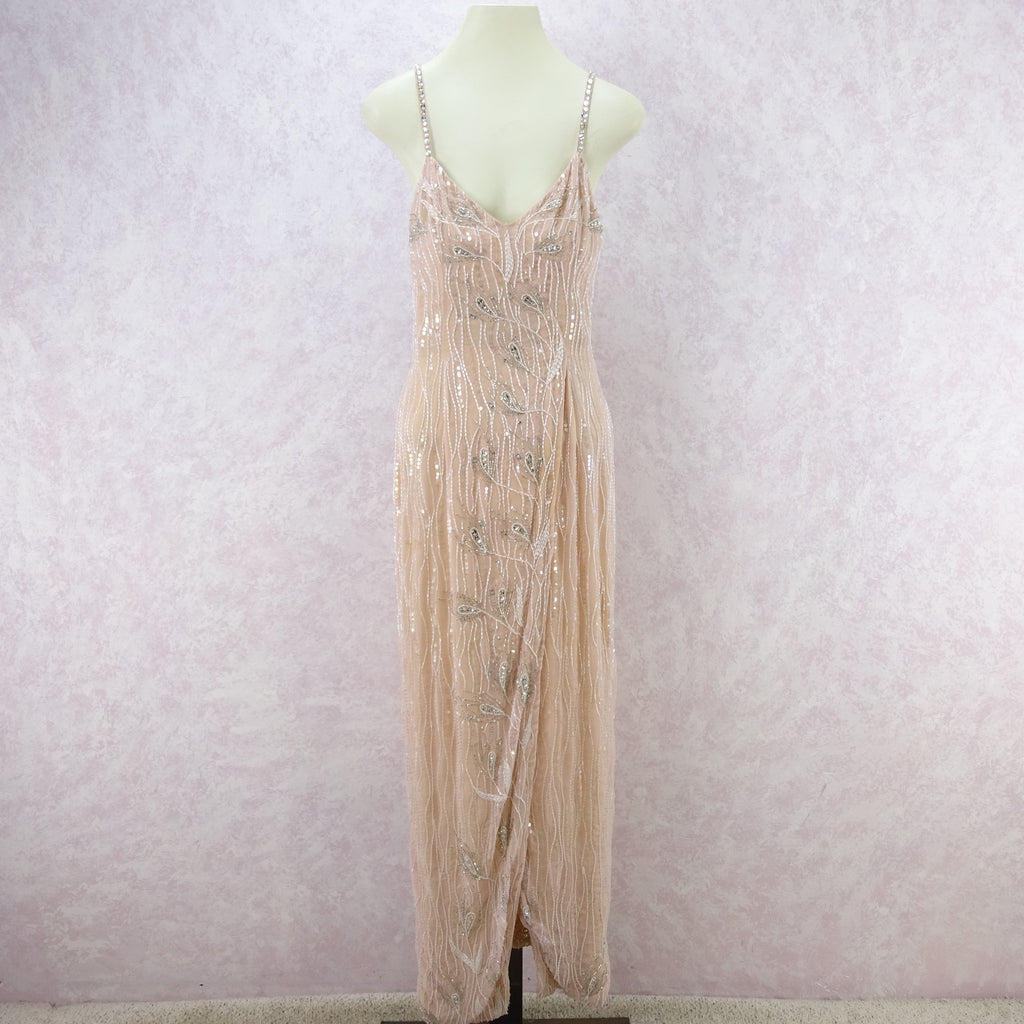 Vintage 80s Beaded Gown w/Wrap Skirt j