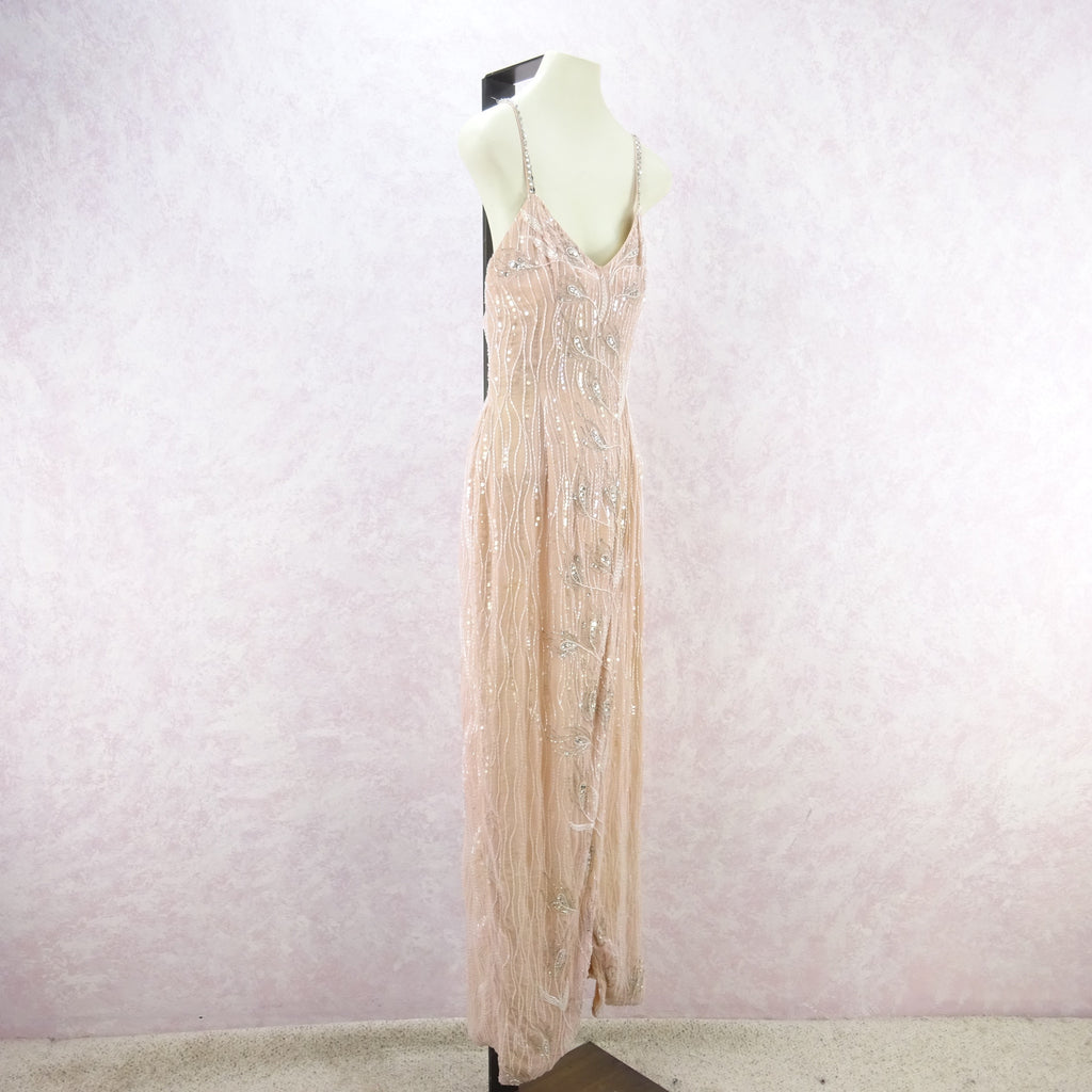 Vintage 80s BILL BELEW Beaded Gown w/Wrap Skirt