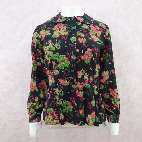 Vintage 40s Chinese Cropped Silk Jacquard Jacket