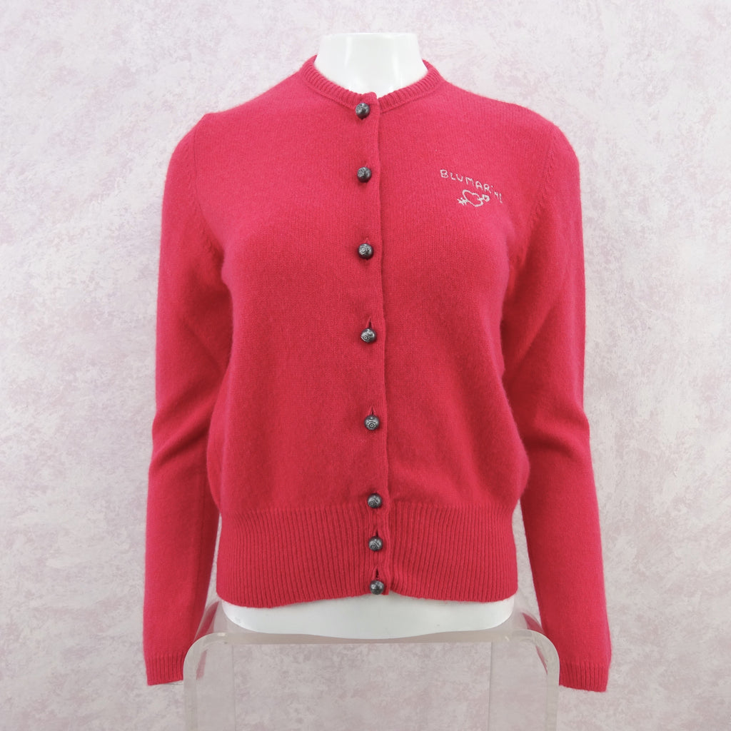 2000s BLUMARINE Wool Cardigan w/Embroidered Logo, NOS
