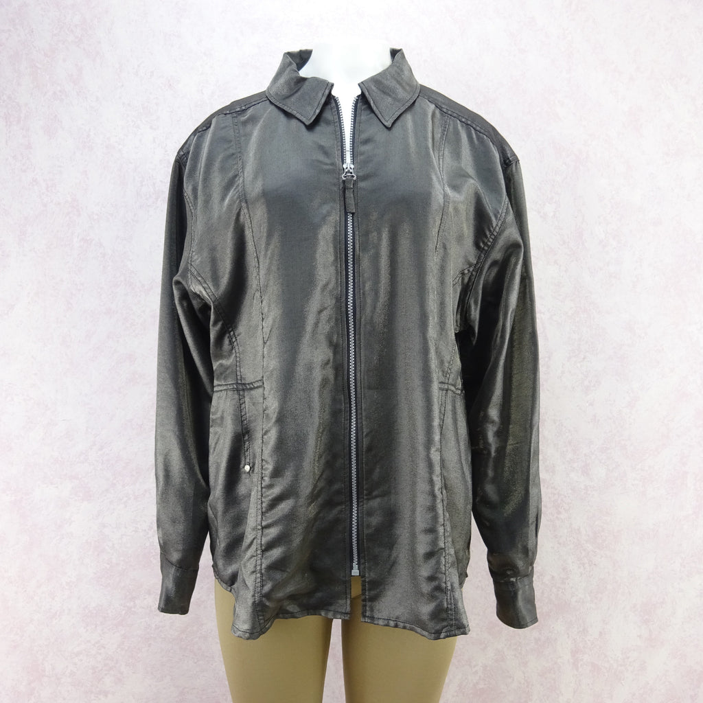 2000s JOOP Lightweight Metallic Zip-Front Jacket, NOS