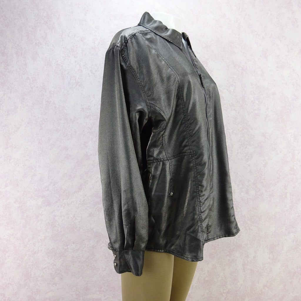 2000s JOOP Lightweight Metallic Zip-Front Jacket, NOS f
