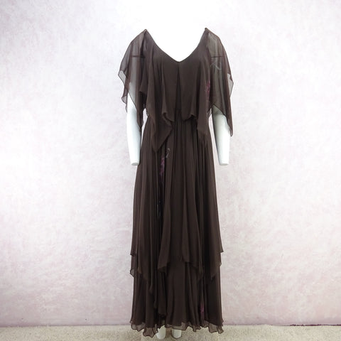 Vintage 70s Wrap Crepe Maxi Dress w/ Self Looped Scarf