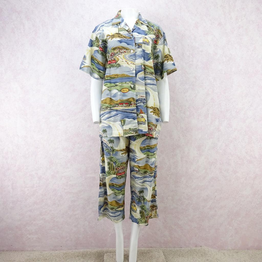 "Vintage 90s THEODORE ""California"" Print Outfit d"