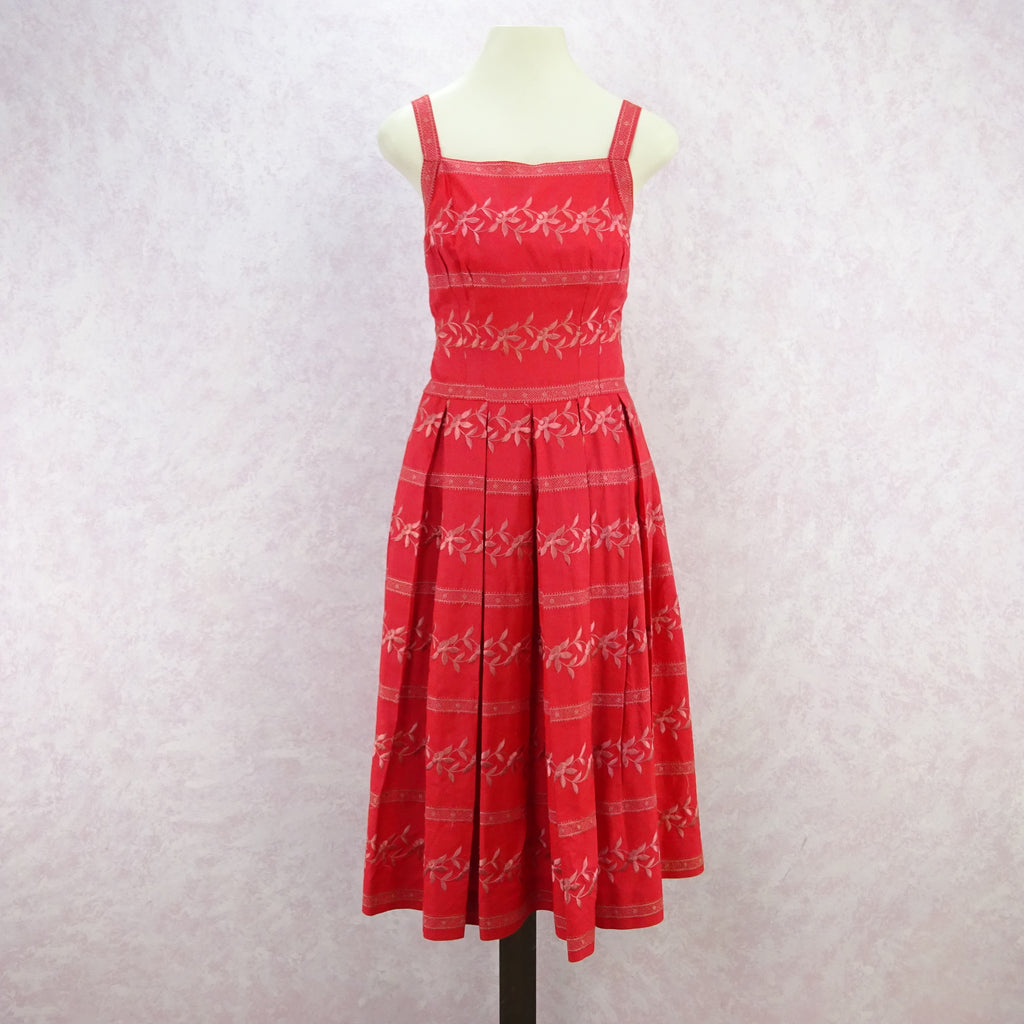Vintage 50's Embroidered Taffeta Fit & Flair Dress
