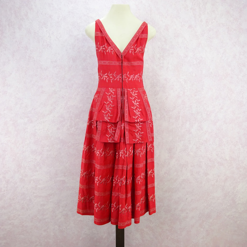 Vintage 50's Embroidered Taffeta Fit & Flair Dress f