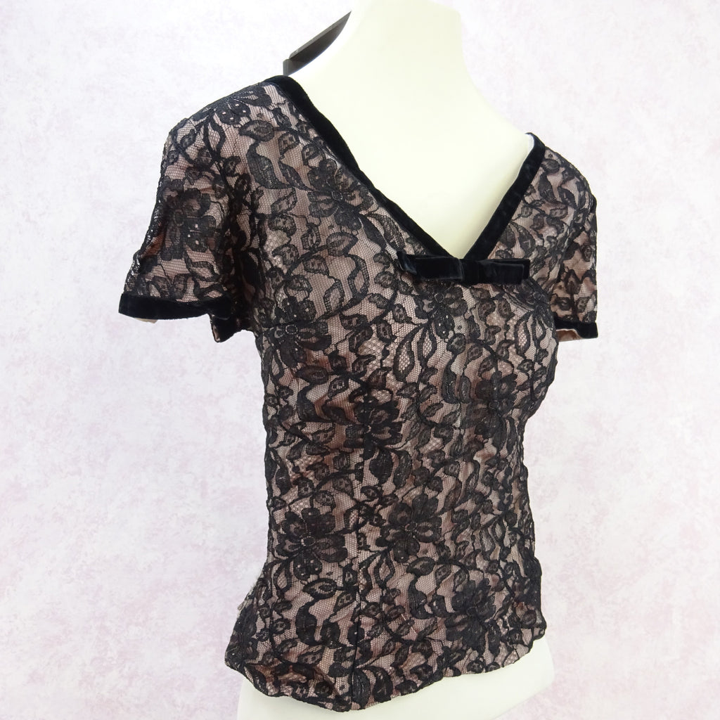 Vintage 50s Lined Lace V-Neck Blouse vcx