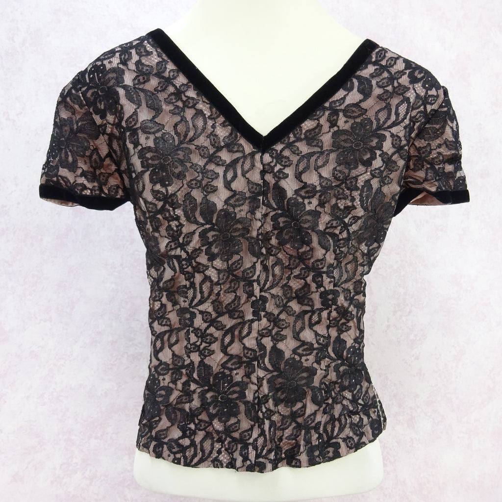 Vintage 50s Lined Lace V-Neck Blouse bnv