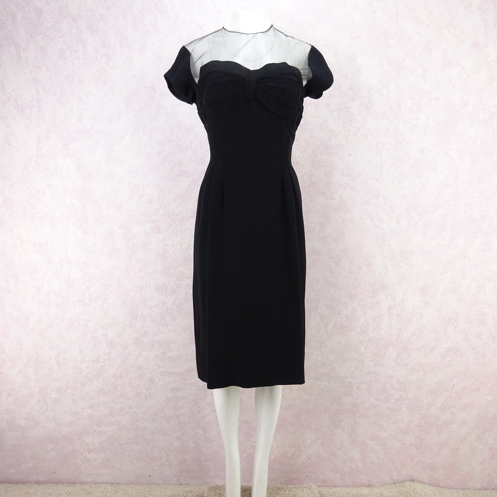 Vintage 60s Illusion Dress w/Sweetheart Neckline