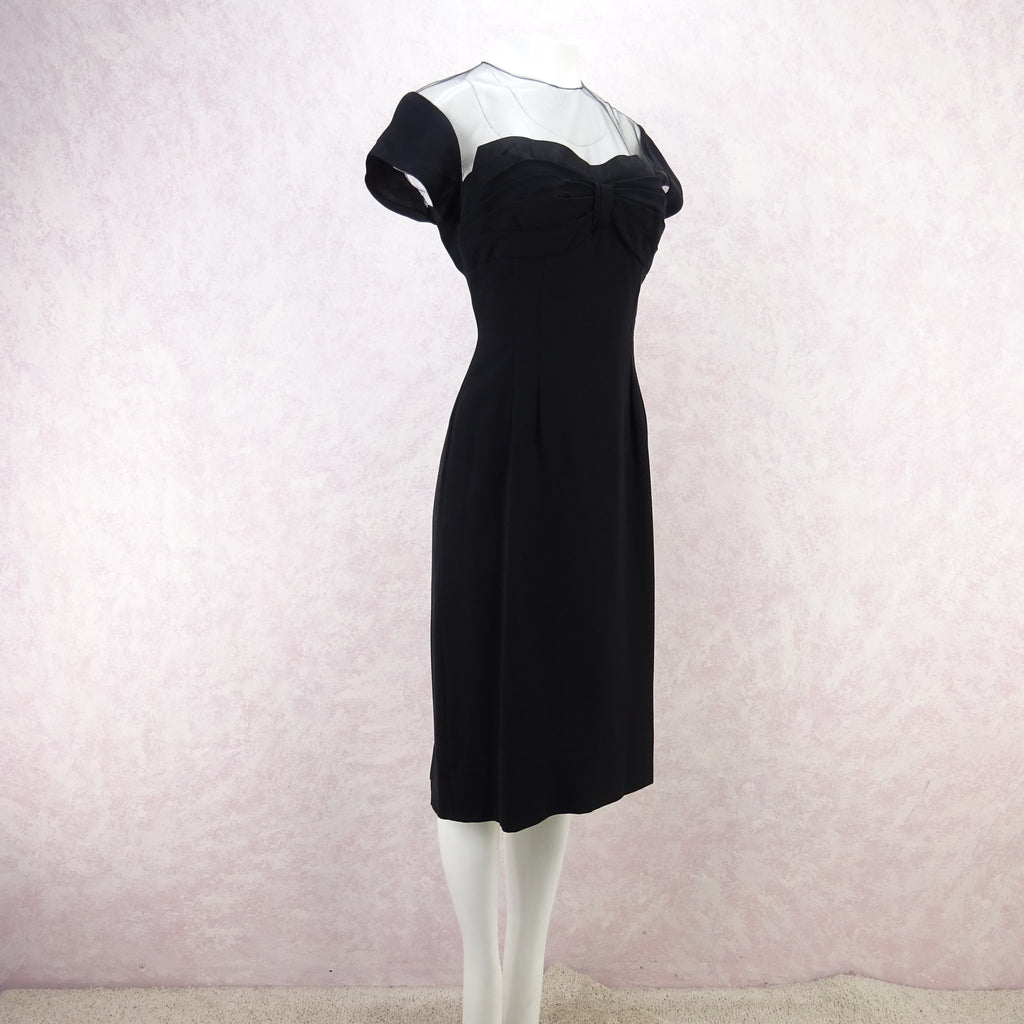 Vintage 60s Illusion Dress w/Sweetheart Neckline asd