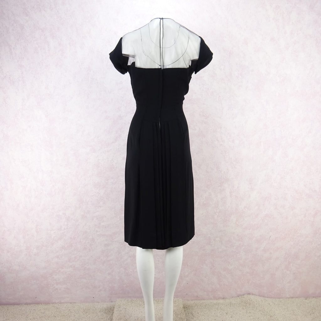 Vintage 60s Illusion Dress w/Sweetheart Neckline b