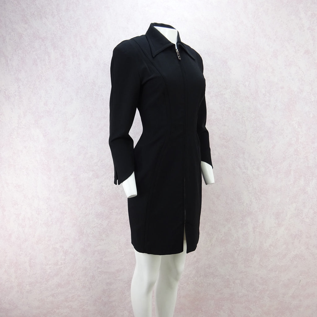 Vintage 90s MUGLER Zip-Front Tailored Stretch Dress fd