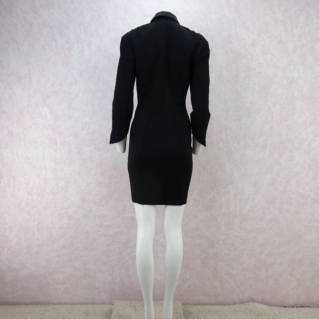 Vintage 90s MUGLER Zip-Front Tailored Stretch Dress/Jacket  f