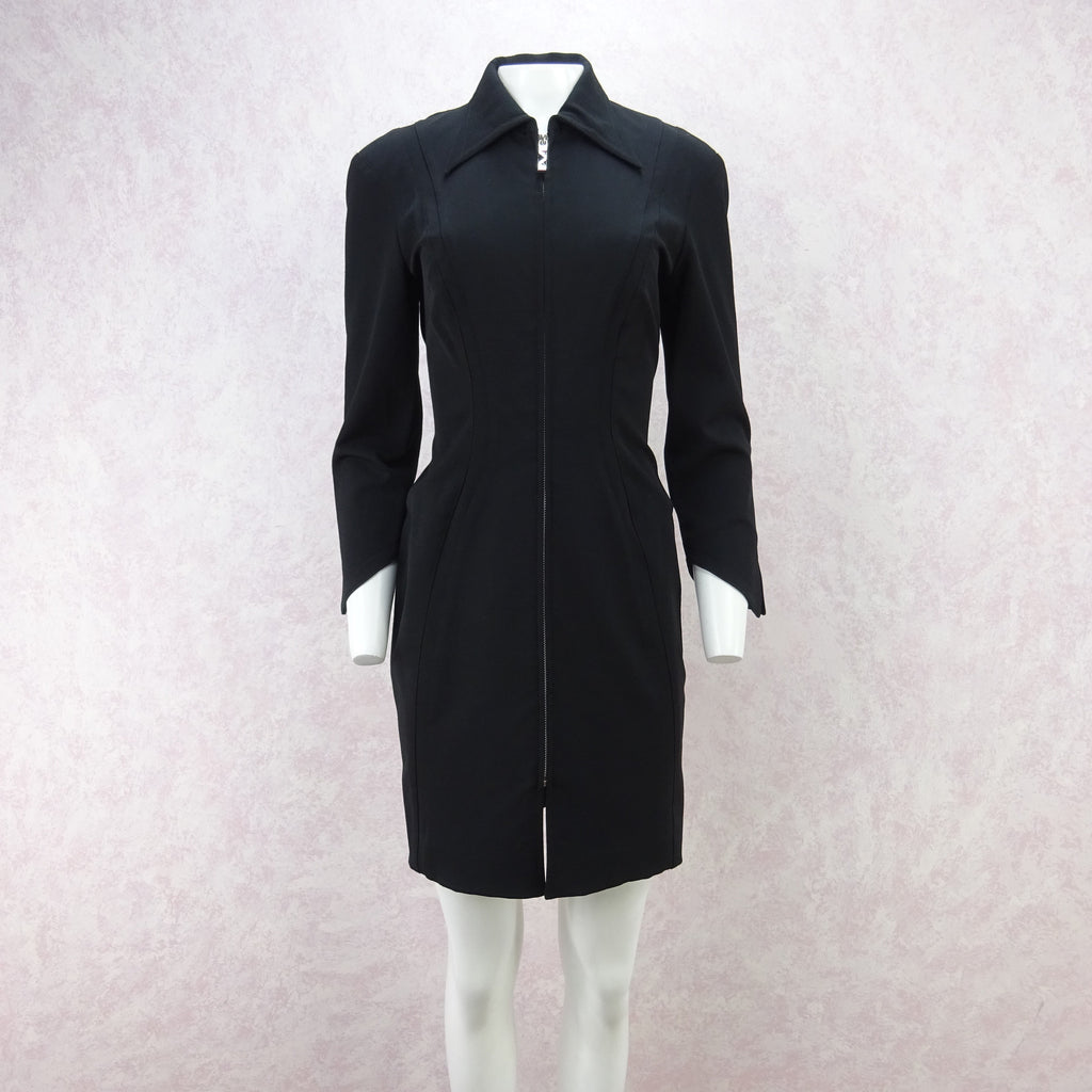 Vintage 90s MUGLER Zip-Front Tailored Stretch Dress/Jacket  dd