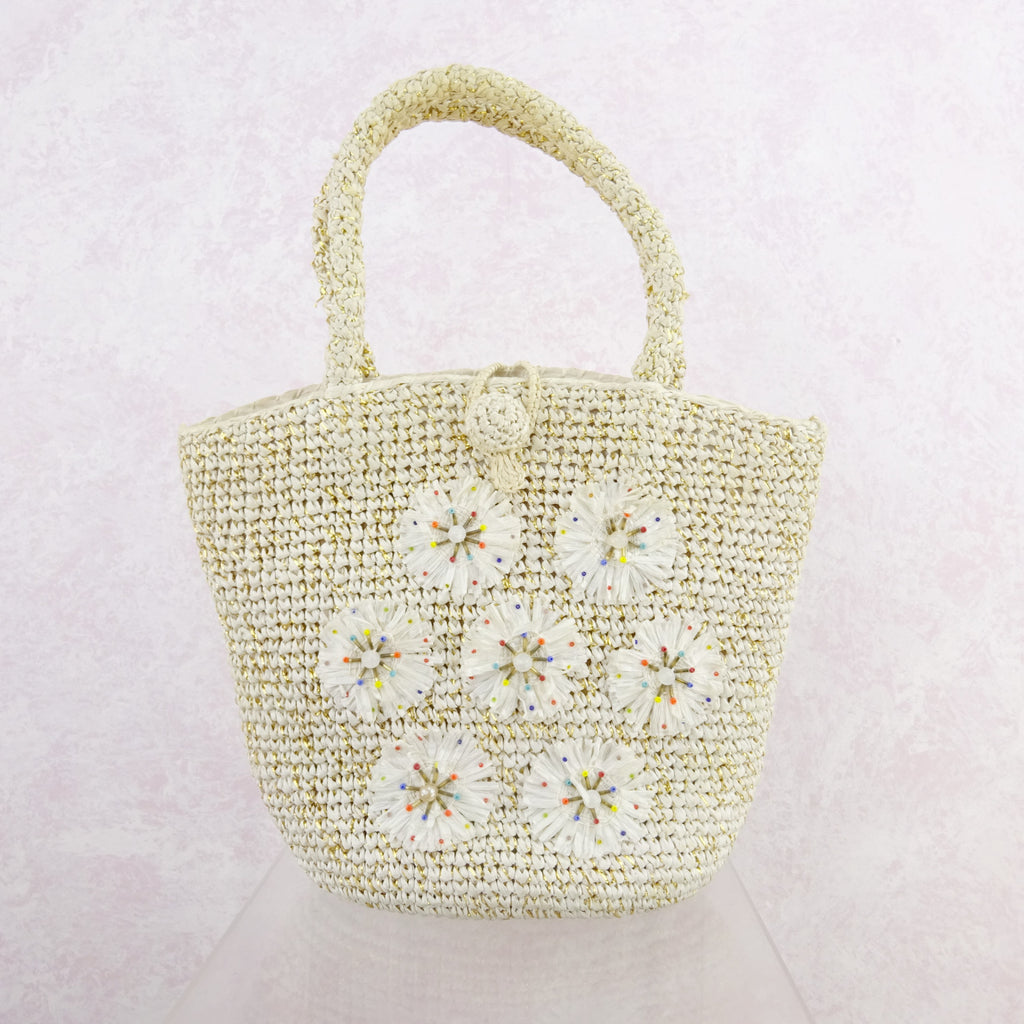 Vintage 90s Crochet Bag w/Lurex & Straw Beaded Medallions