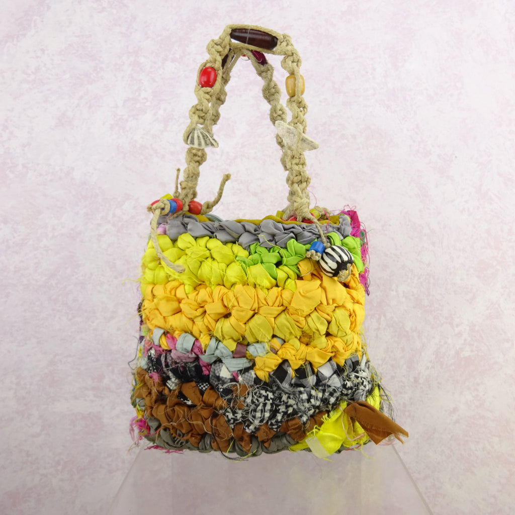Vintage 90s Bright Hand Knit Rag Bag w/Beads, NOS