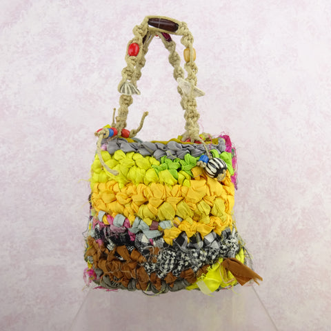 Vintage 90s Crochet Bag w/Lurex & Straw Beaded Medallions, NOS