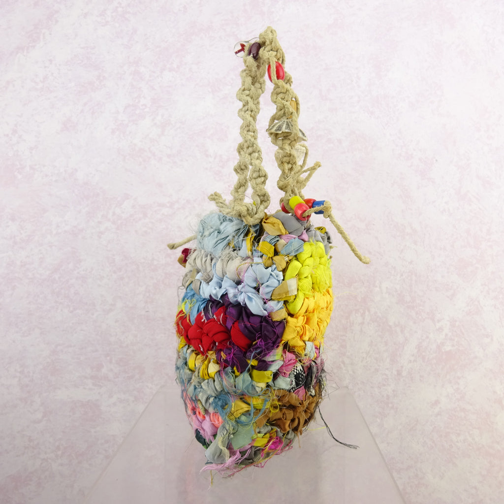 Vintage 90s Bright Hand Knit Rag Bag w/Beads, NOS f