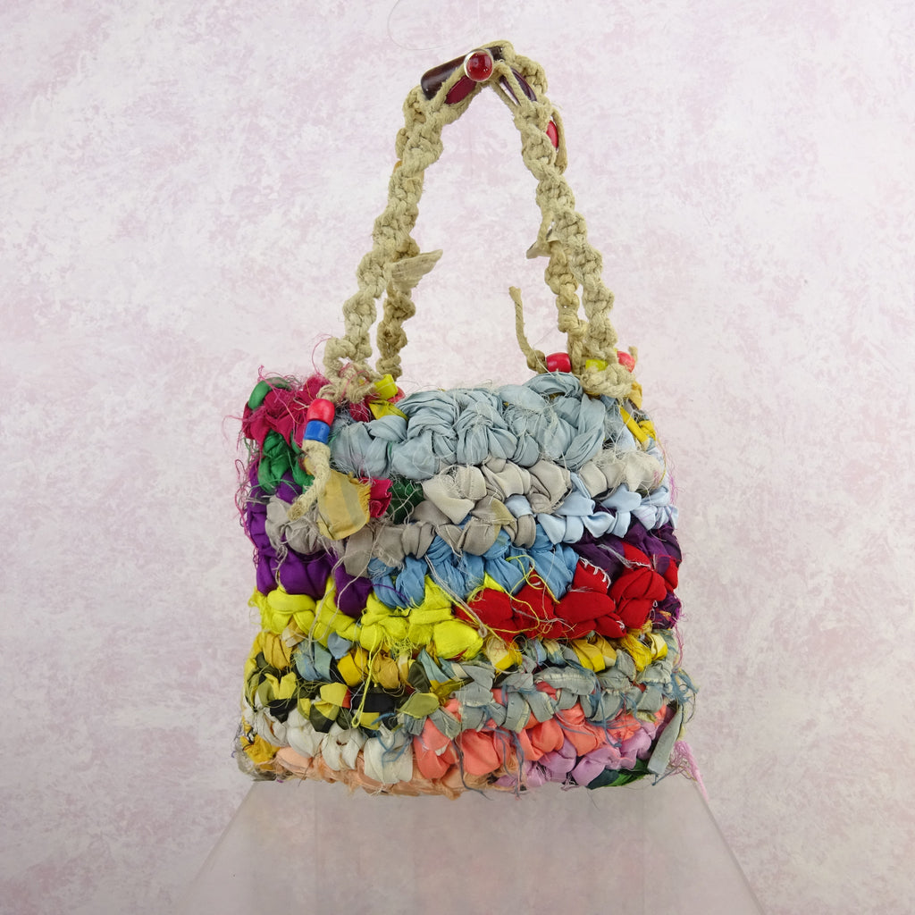 Vintage 90s Bright Hand Knit Rag Bag w/Beads, NOS gf