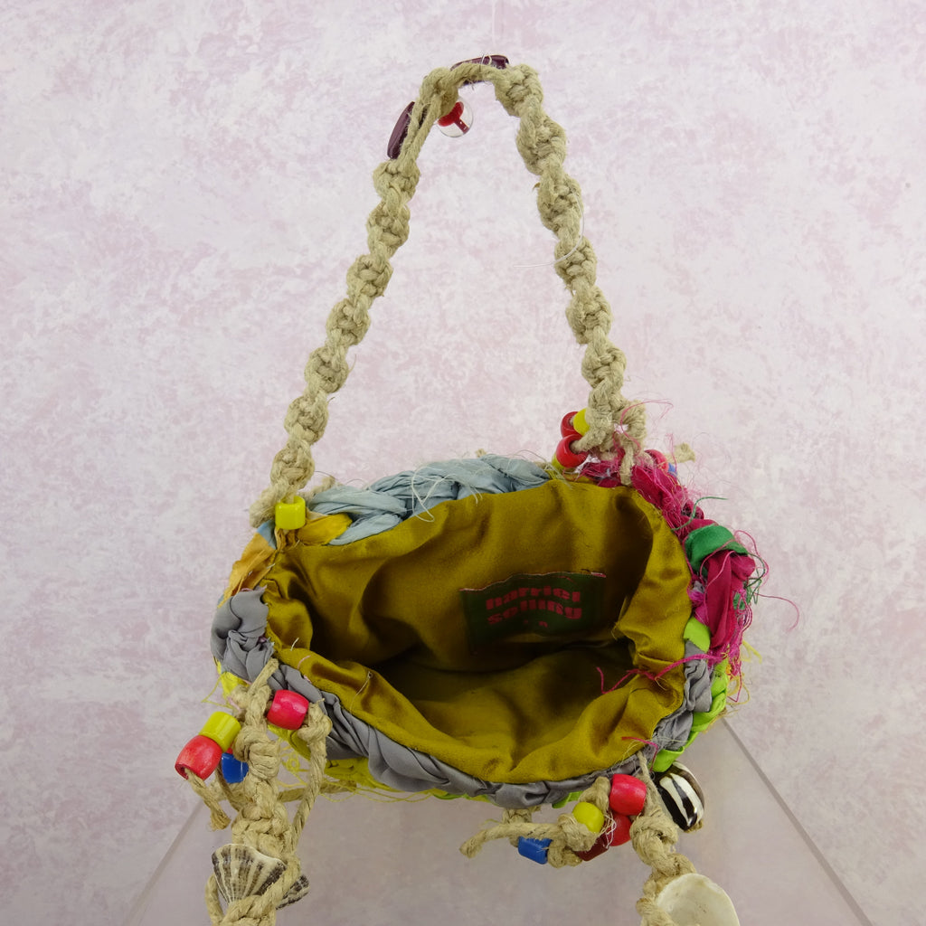Vintage 90s Bright Hand Knit Rag Bag w/Beads, NOS mkjh