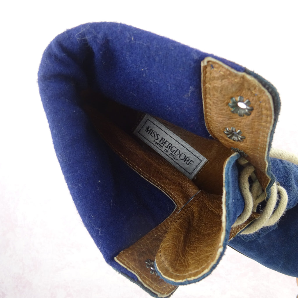 2000s Blue Suede Ankle Boots w/Floral Embroidery, NOS qw