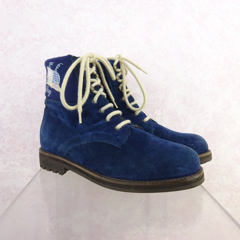 2000s Short Suede Boots w/Lace-Up Leather String  SOLD
