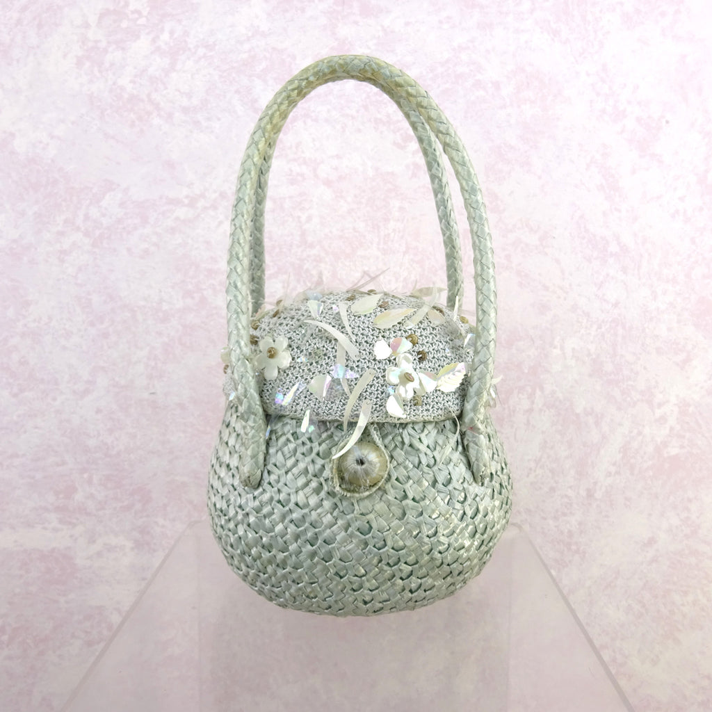 Vintage 50s Straw Basket Purse w/ Knit Top & Sequins