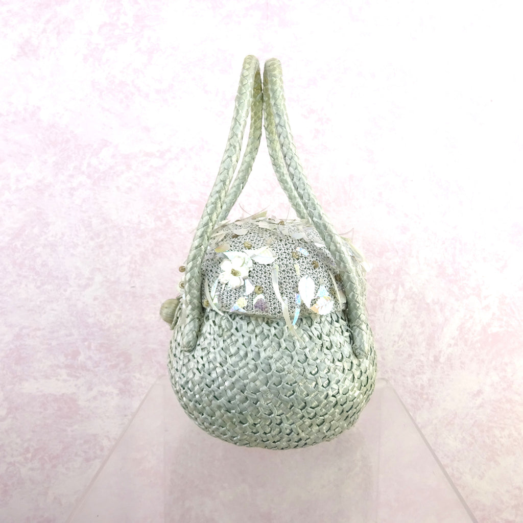 Vintage 50s Straw Basket Purse w/ Knit Top & Sequins v