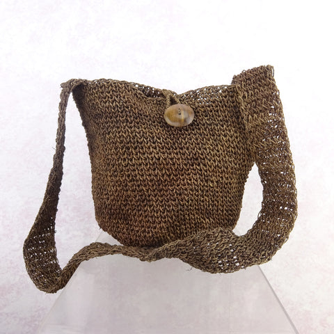 Vintage 90s Hand Made Silk Knit Rag Purse, NOS