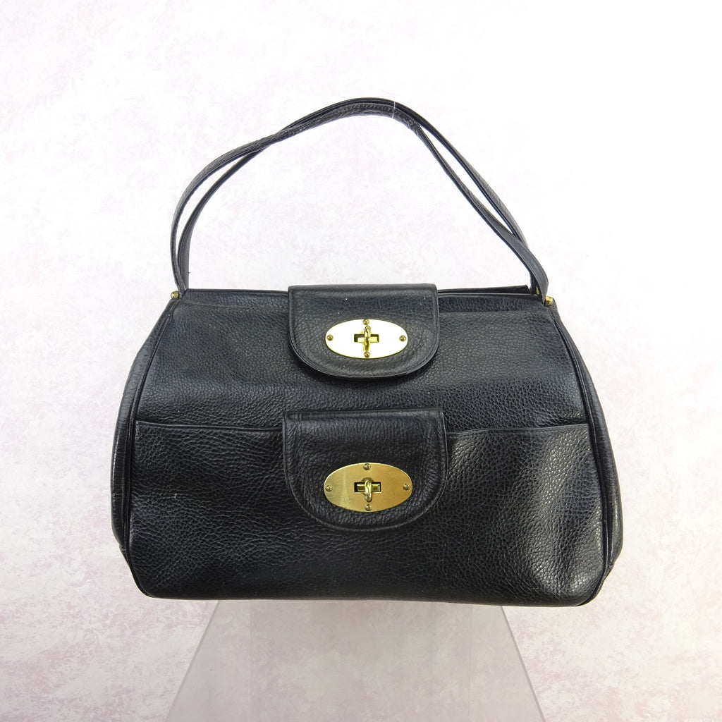 Vintage 60s Large Leather Purse w/Bold Brass Closure