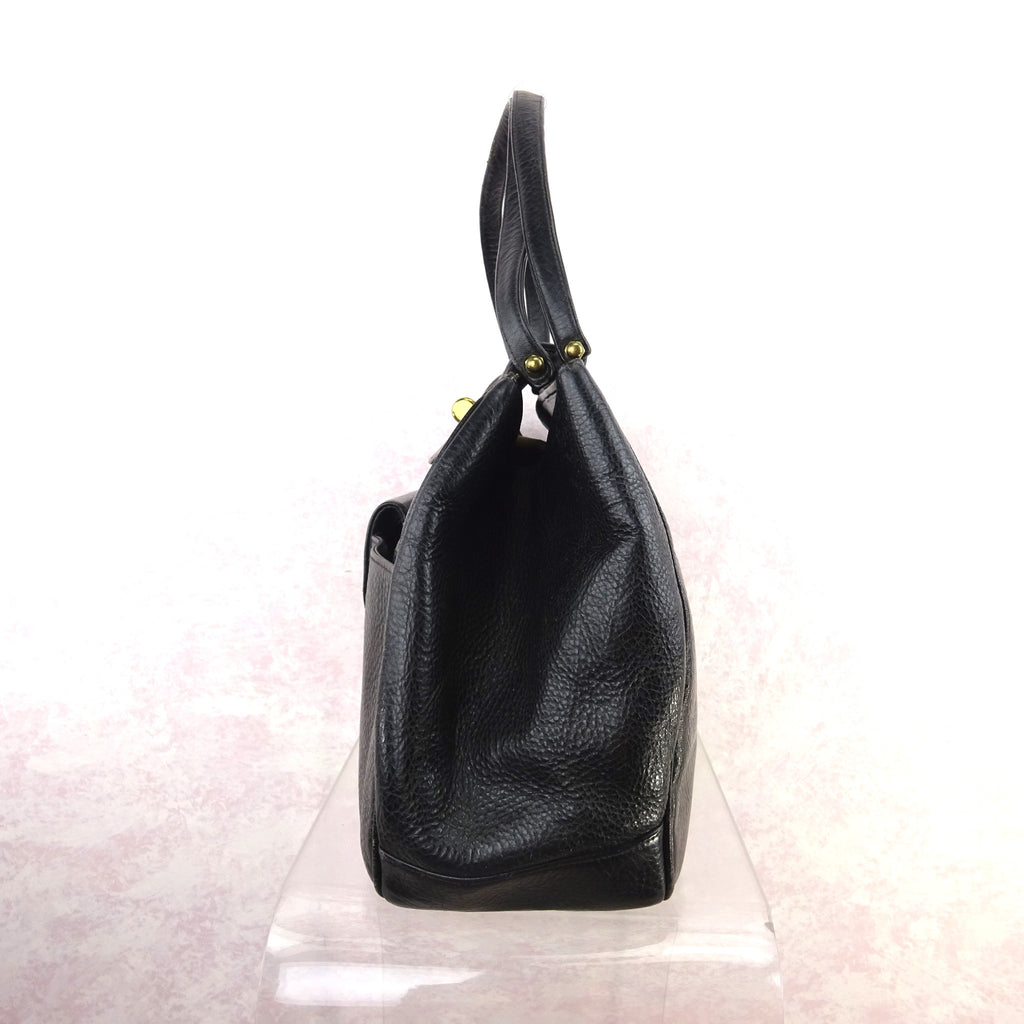Vintage 60s Large Leather Purse w/Bold Brass Closure d