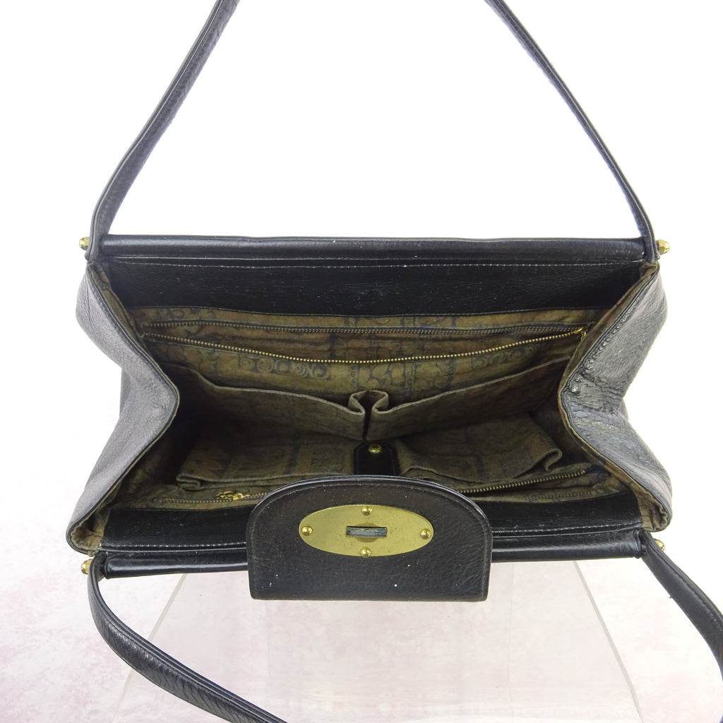 Vintage 60s Large Leather Purse w/Bold Brass Closure qwe