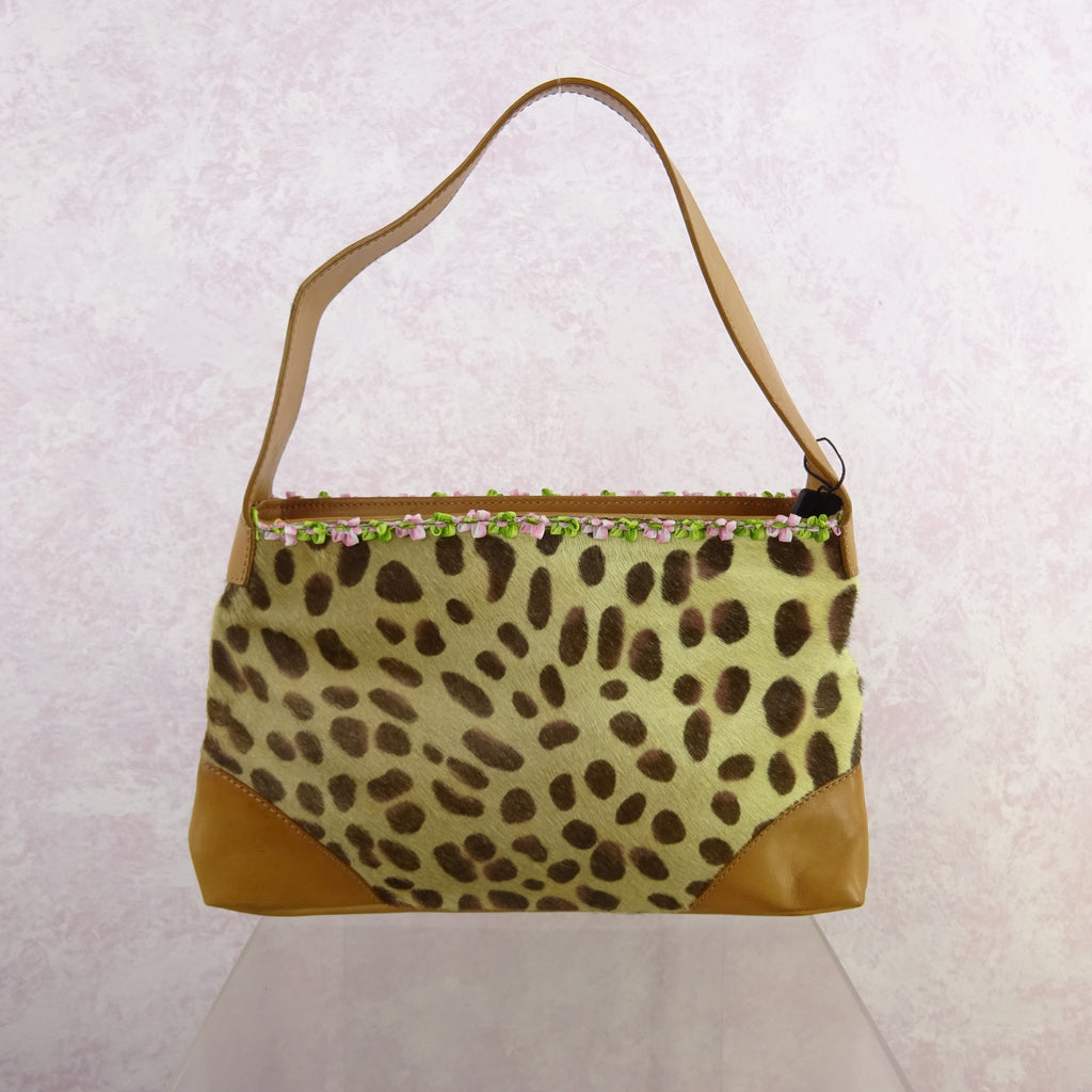2000s D & G Animal Printed Calf & Leather Purse, NWT