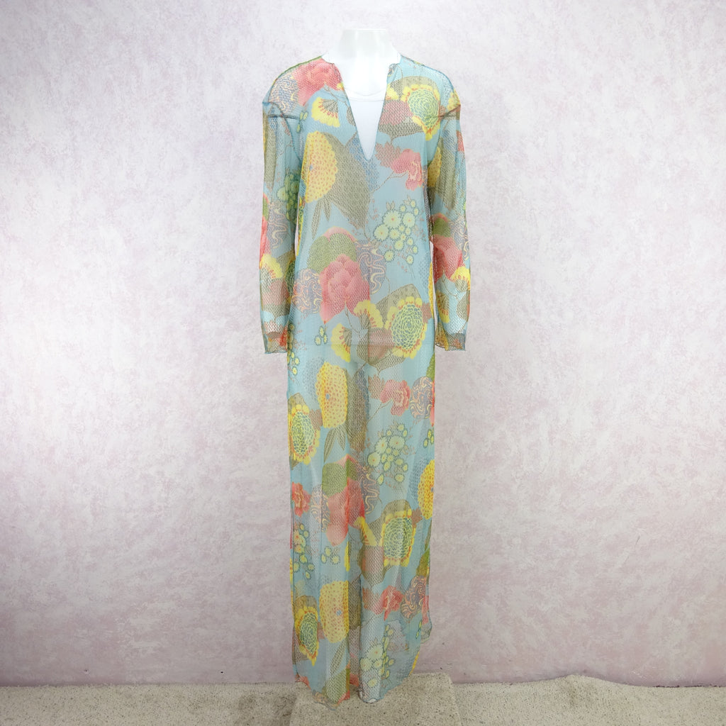 2000s Floral Printed Net Beach Tunic, NOS