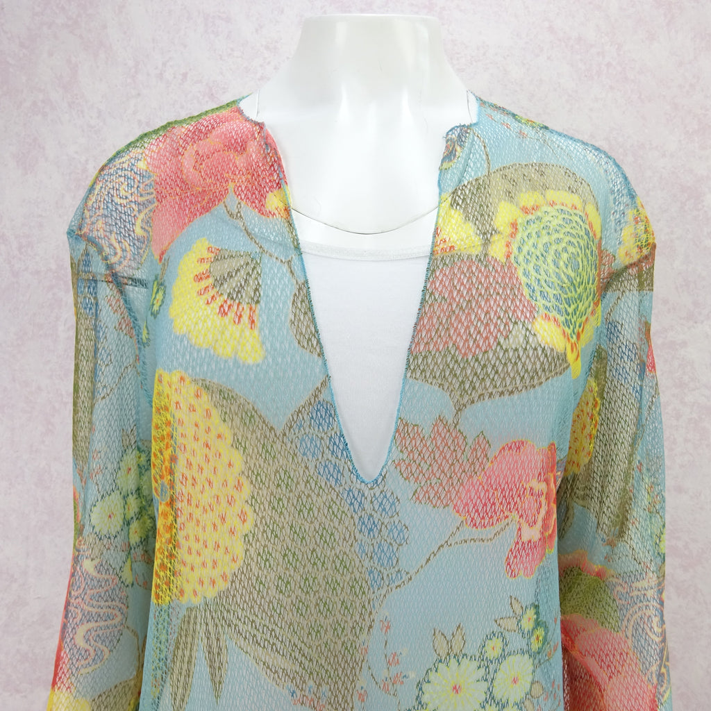2000s Floral Printed Net Beach Tunic, NOS mn