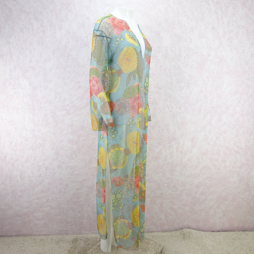 2000s Floral Printed Net Beach Tunic, NOS jhgf
