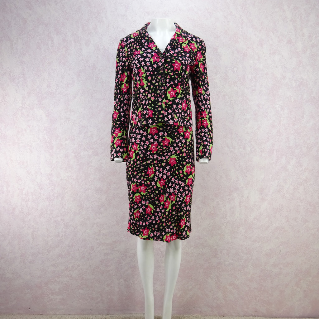 Vintage 90s MOSCHINO Floral Linen Cropped Jacket, NOS kd