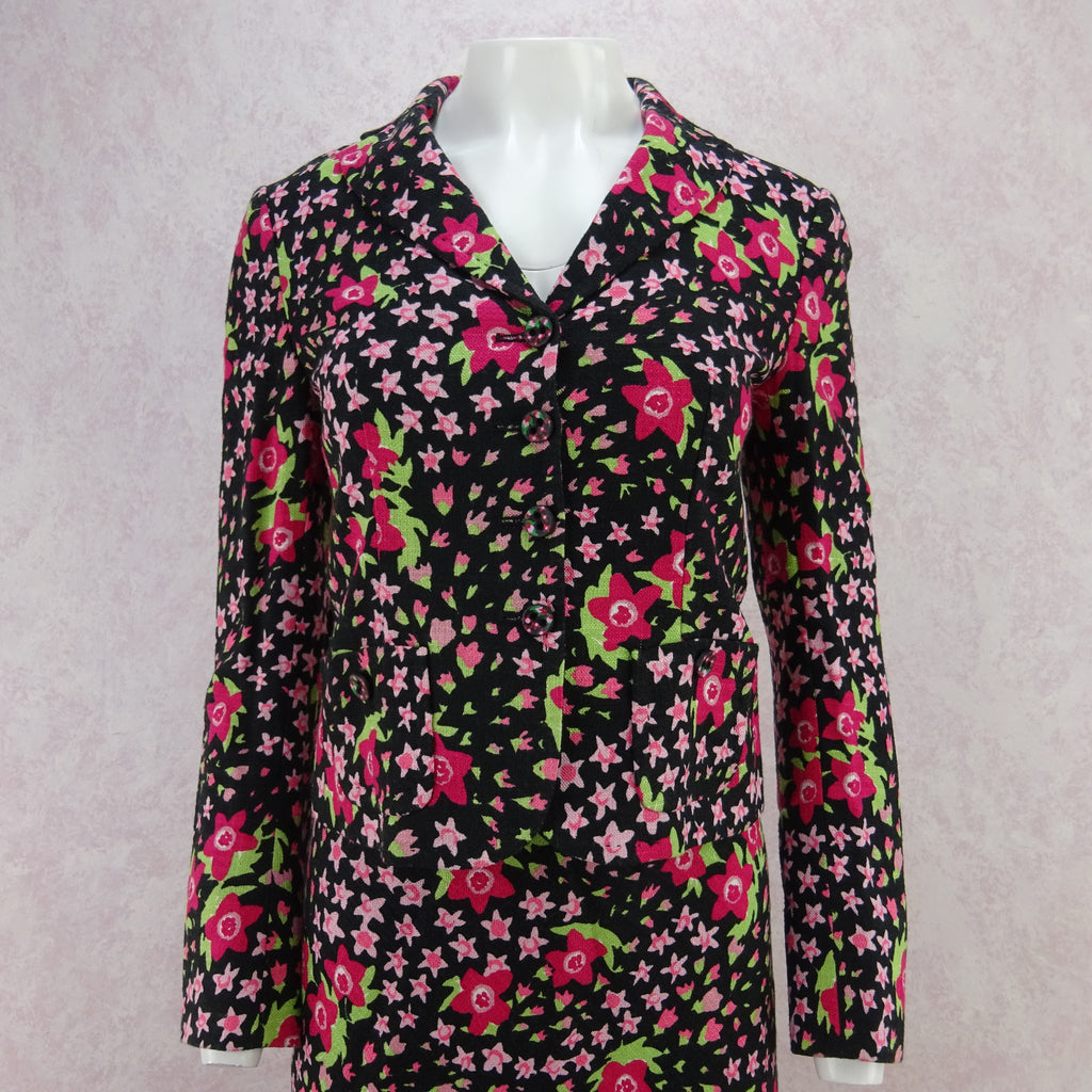 Vintage 90s MOSCHINO Floral Linen Cropped Jacket, NOS