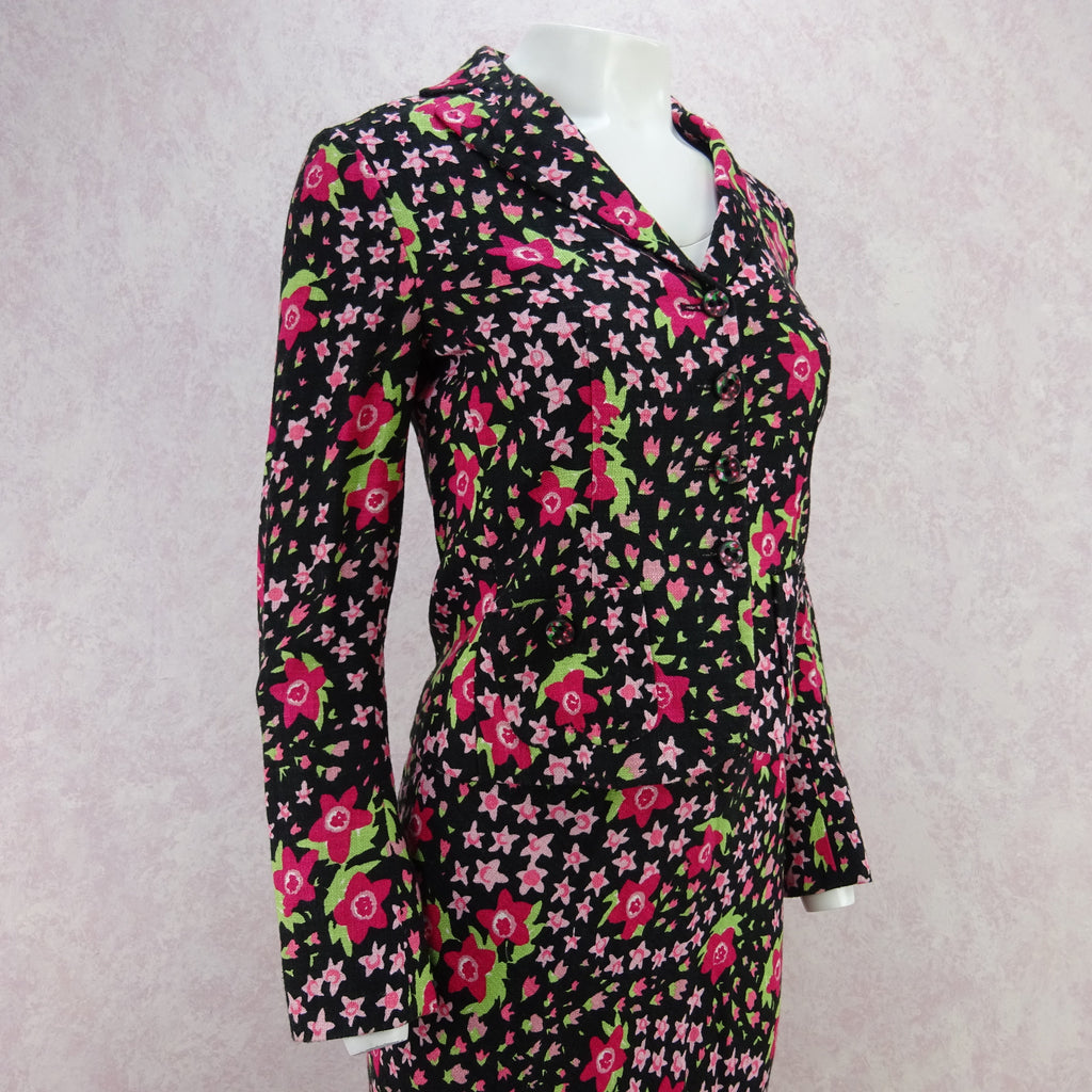 Vintage 90s MOSCHINO Floral Linen Cropped Jacket, NOS d