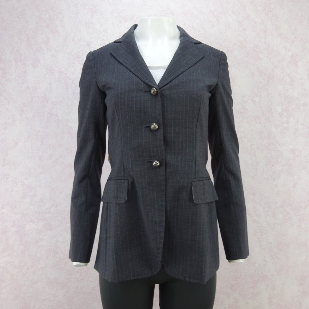 Vintage 90s MOSCHINO Pinstripe Jacket w/Surprise Back, NOS