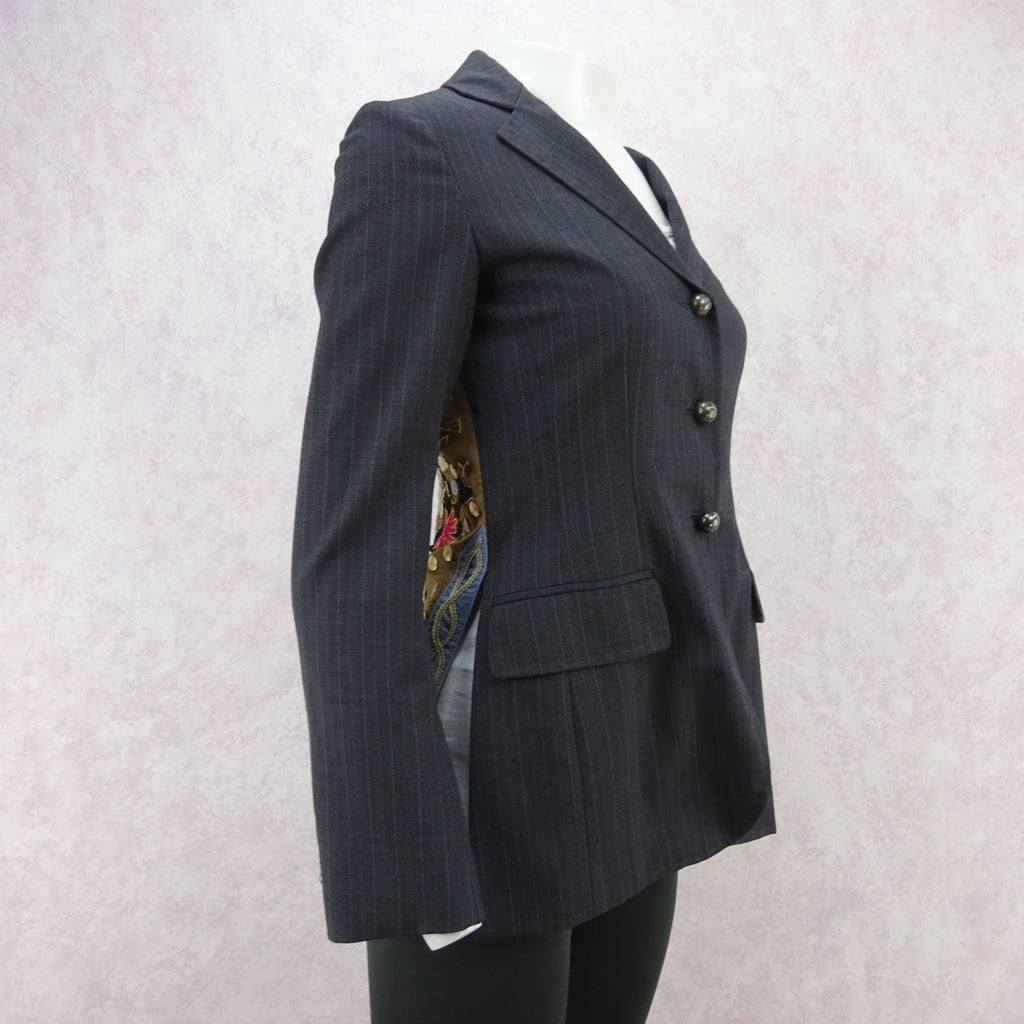 Vintage 90s MOSCHINO Pinstripe Jacket w/Surprise Back, NOS c